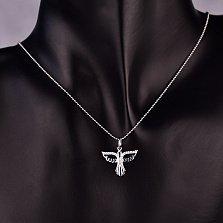 Серебряная подвеска Летящая птица с белыми фианитами