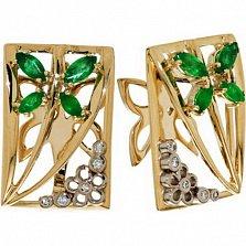 Золотые серьги Империя лета с изумрудами и бриллиантами