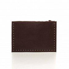 Кожаный клатч Genuine Leather 1405 темно-коричневого цвета с короткой ручкой на запястье