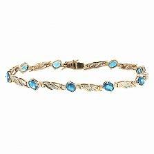 Золотой браслет Блюз с голубыми топазами и бриллиантами