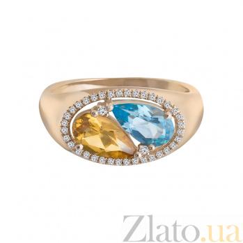 Золотое кольцо с топазом, цитрином и бриллиантами Клара 1К759-0216
