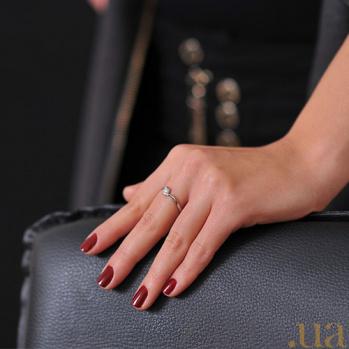 Кольцо из белого золота с бриллиантом Капля росы EDM--КД7482/1