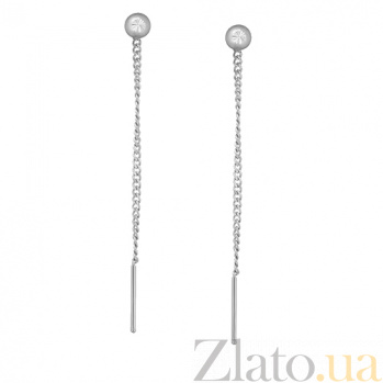 Серебряные серьги-цепочки Имидж LEL--86012