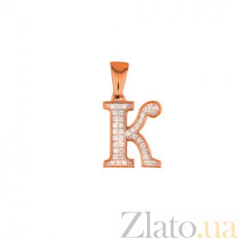 Золотая подвеска Буква К VLT--ЕЕ3549-К