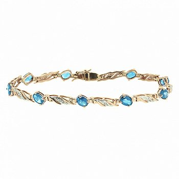 Золотой браслет с голубыми топазами и бриллиантами 000022086