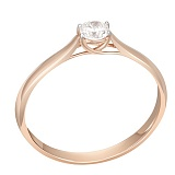 Золотое кольцо Первый поцелуй в красном цвете с бриллиантом