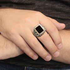 Серебряный перстень-печатка Пигмалион с золотой накладкой и черным ониксом