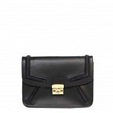 Кожаный клатч Genuine Leather 1603 черного цвета с металлическим замком и плечевым ремнем