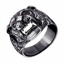 Серебряное кольцо Сила тигра с коньячными фианитами