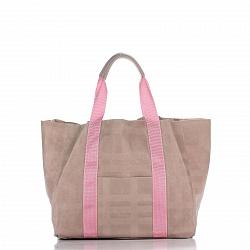 Кожаная сумка на каждый день Genuine Leather 8252-1 розового цвета с накладным карманом