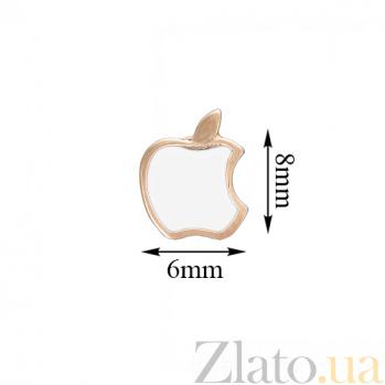 Золотые серьги-пуссеты Яблочко с белой эмалью TNG--500036Е/бел