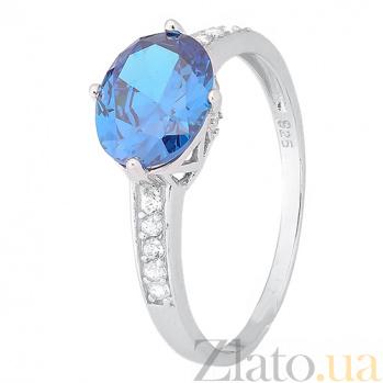 Кольцо из серебра Джильда с голубым цирконием 000028326