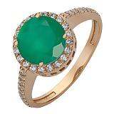 Золотое кольцо с агатом и фианитами Аммо