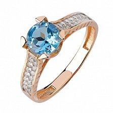 Кольцо из красного золота Era с голубым топазом и фианитами