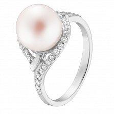 Кольцо в белом золоте Вилена с белым жемчугом и белыми фианитами