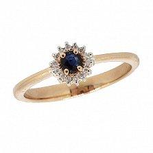 Золотое кольцо Джина в красном цвете с сапфиром и лейкосапфирами