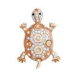 Серебряная подвеска Черепаха с фианитами и позолотой 000039714