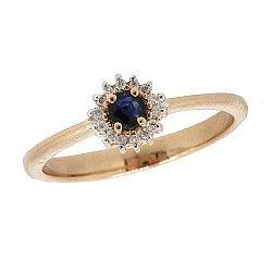 Золотое кольцо  в красном цвете с сапфиром и лейкосапфирами 000040395