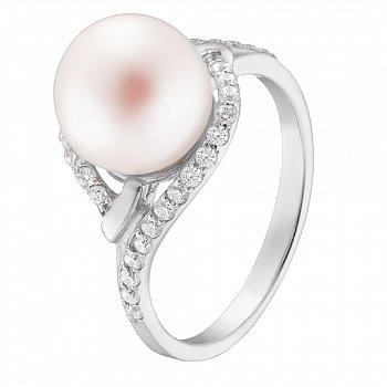 Кільце в білому золоті Вілена з білим перлами і білими фіанітами 000071156