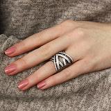 Серебряное кольцо Геометрия с черным родием и белыми фианитами