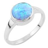 Серебряное кольцо Эрма с голубым опалом