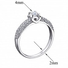 Золотое кольцо Мишель в белом цвете с бриллиантами