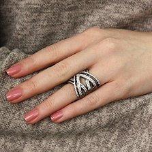 Серебряное кольцо Далила с черным родием и белыми фианитами