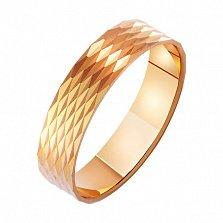 Золотое обручальное кольцо Созвездие любви с насечкой
