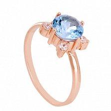 Золотое кольцо с топазом и фианитами Ванда