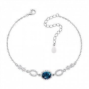 Срібний браслет з лондон топазом і фіанітами 000133825