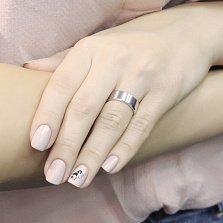 Серебряное обручальное кольцо-американка Сдержанный стиль с родиевым покрытием