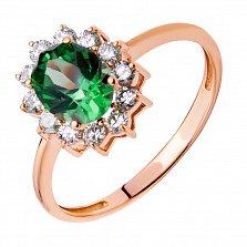 Золотое кольцо Рахиль в красном цвете с цветочком, зеленым гранатом и бриллиантами