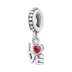 Срібний шарм з фіанітами Love 000039176