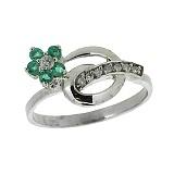 Серебряное кольцо с бриллиантами и изумрудами Сильва