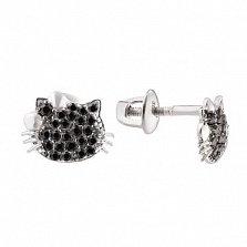Серебряные пуссеты Мини-Китти в усыпке черных фианитов