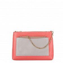 Кожаный клатч Genuine Leather 7808 розового цвета с серым накладным карманом и цепочкой