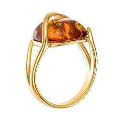 Серебряное кольцо с янтарем и позолотой 000139162