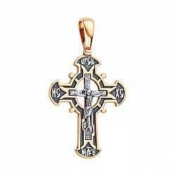 Православный серебряный крестик с позолотой и чернением 000130921