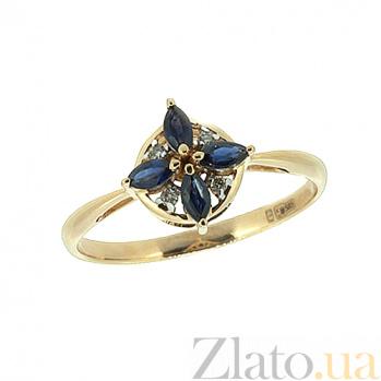 Золотое кольцо в красном цвете с бриллиантами и сапфирами Анеса ZMX--RDS-6825_K