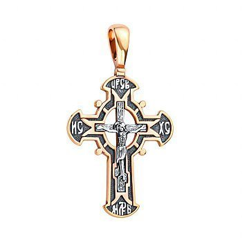 Православний срібний хрестик із позолотою та чорнінням 000130921