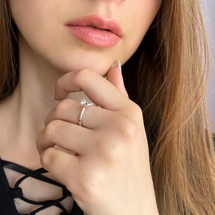 Кольцо из белого золота с бриллиантом 0,2ct 000034591 000034591