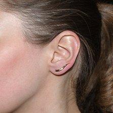 Золотая серьга-каффа Лиза в красном цвете в одно ухо