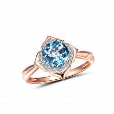 Золотое кольцо Фрезия с голубым топазом огранки круг и бриллиантами