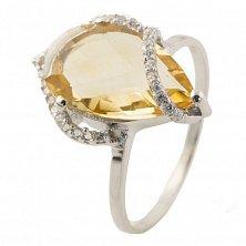 Серебряное кольцо Мальта с цитрином и фианитами