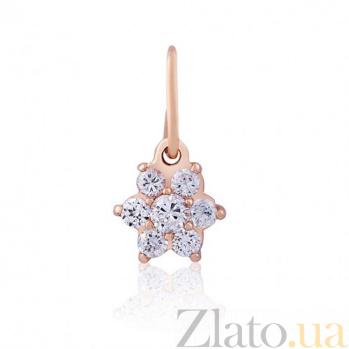 Золотой кулон Нежный цветок с белыми фианитами EDM--П040