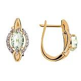Золотые серьги с бриллиантами и аметистом Солнечный бриз