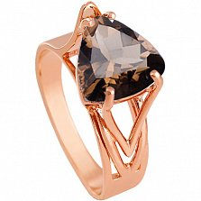 Золотое кольцо Бриджит с гидротермальным раухтопазом