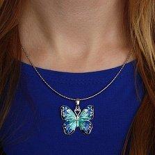 Серебряная подвеска Сказочная бабочка с разноцветной эмалью
