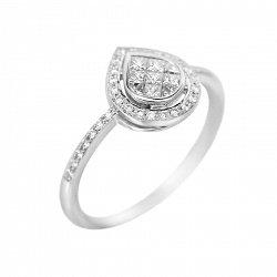Кольцо из белого золота Льдинка с бриллиантами