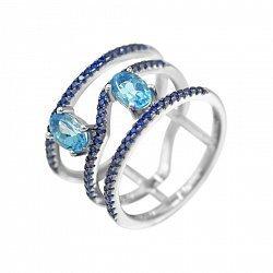 Серебряное кольцо Наргиз с топазом и синими фианитами